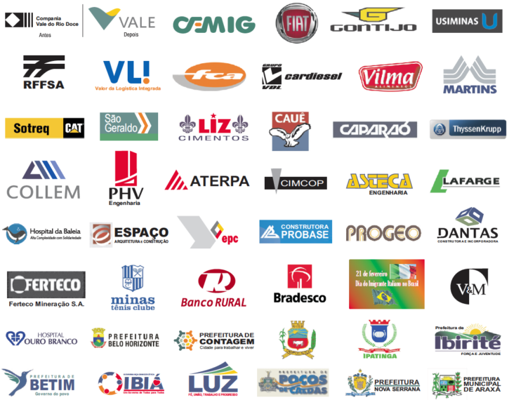 Imagem contendo logomarca dos principais clientes da Setam